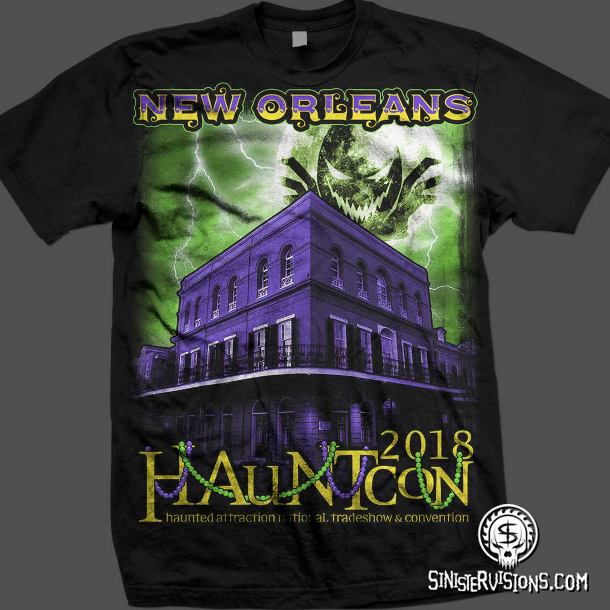 New T-Shirt Designs | Sinister Visions T Shirt Design For Haunted Houses Haunted