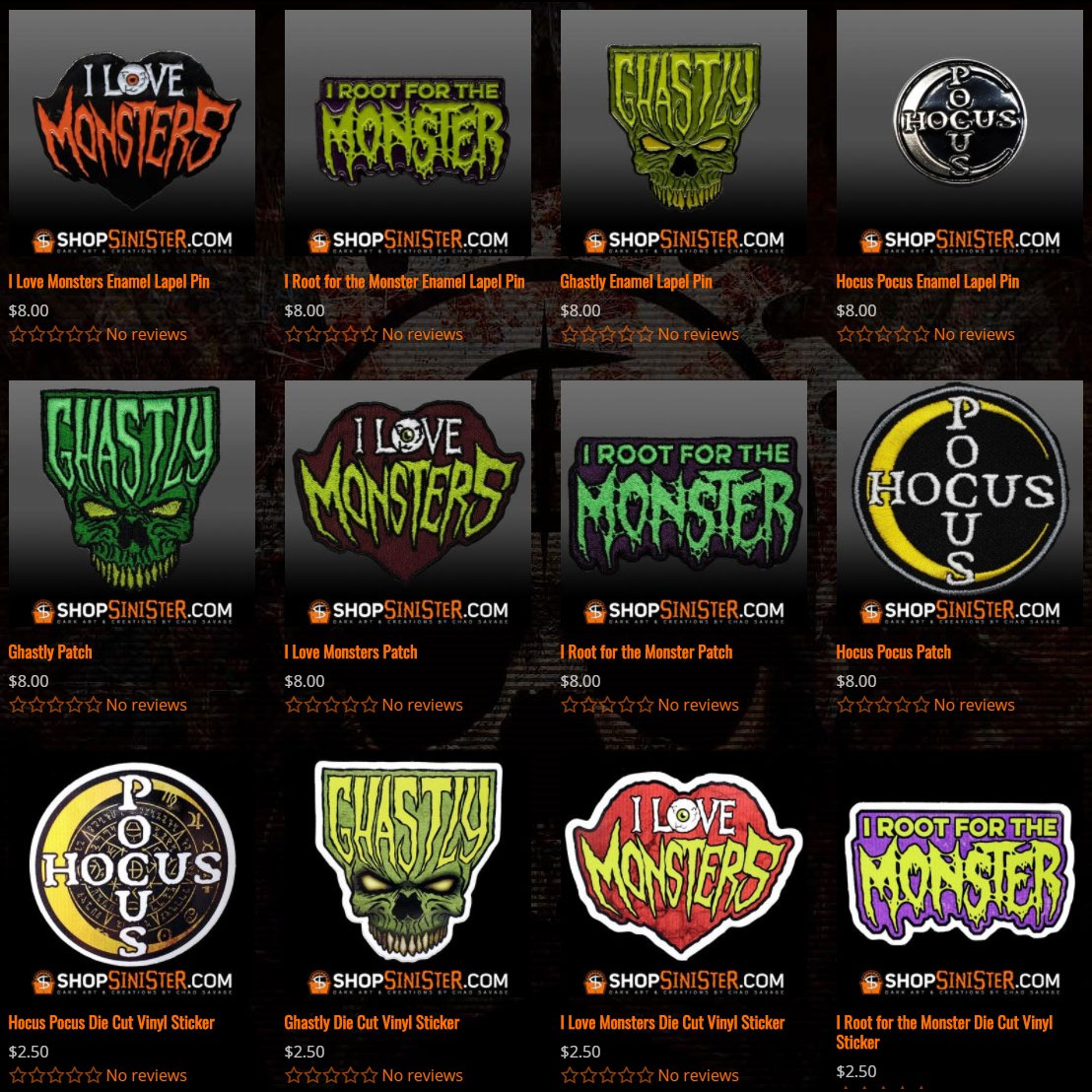 New Pins, Patches and Stickers at ShopSinister.com